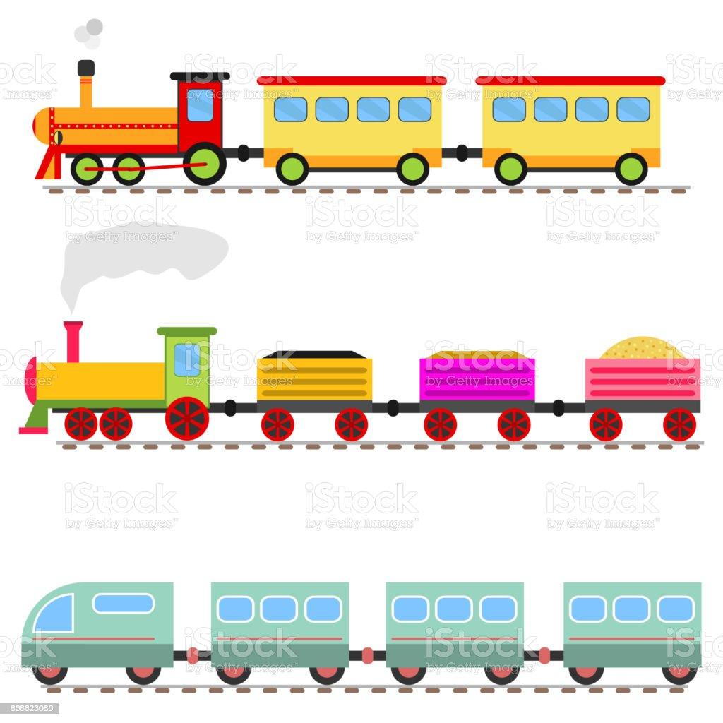 Dessin Anime De Train Gare De Train Jouet Pour Enfants Vecteurs