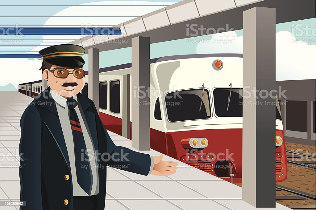 royalty free train conductor clip art vector images illustrations rh istockphoto com Train Conductor Animated train conductor hat clipart