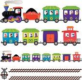 cartoon train with passengers