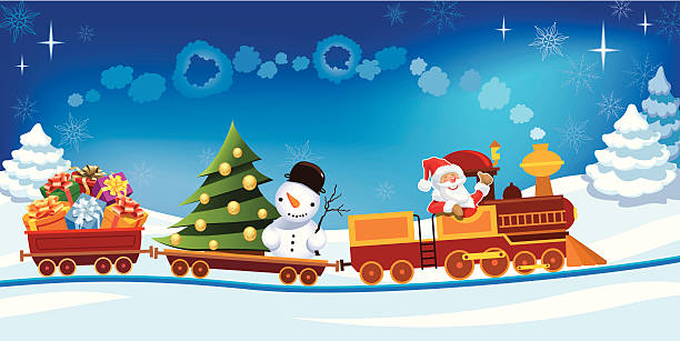Cartoon train with Santa, presents, tree, and snowman Santa Claus in a toy train with gifts, snowman and christmas tree. one senior man only illustrations stock illustrations