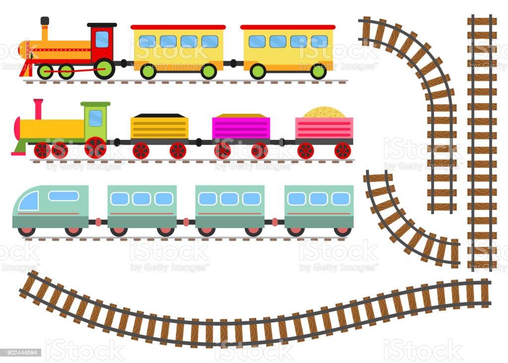 ilustração de trem com vagões de estrada de ferro de desenhos