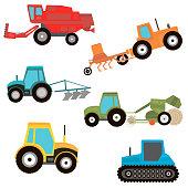 Cartoon transport set. Bulldozer, dumper, caterpillar, harvester, hay. Vector illustration