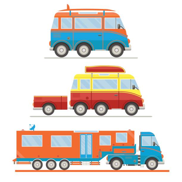 Cartoon transport set. Van with surfboard, van with trailer, campervan. Vector illustration Cartoon transport set. Van with surfboard, van with trailer, campervan. Vector illustration. rv interior stock illustrations