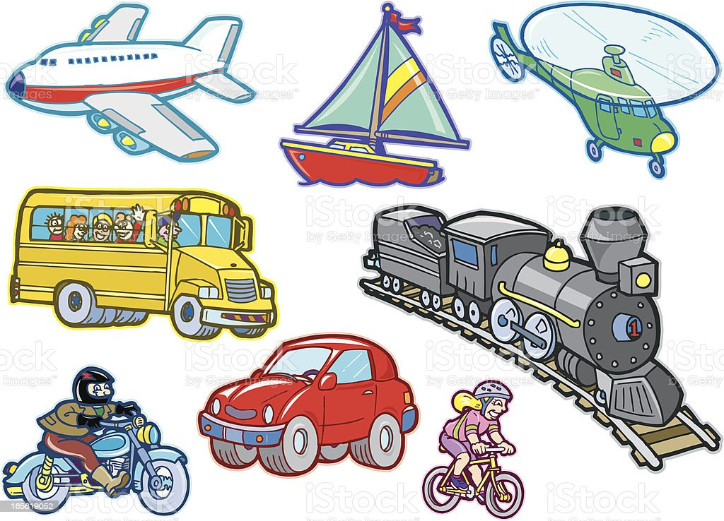 Cartoon Transportation Vehicles Stock Illustration