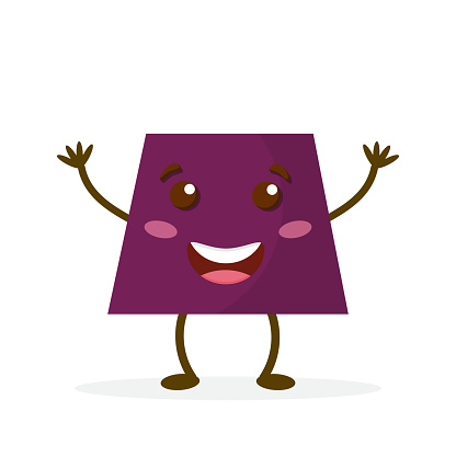 Cartoon trapezoid with legs and arms. Cute Geometric figures learning. Nice visual educational material. . Vector illustration