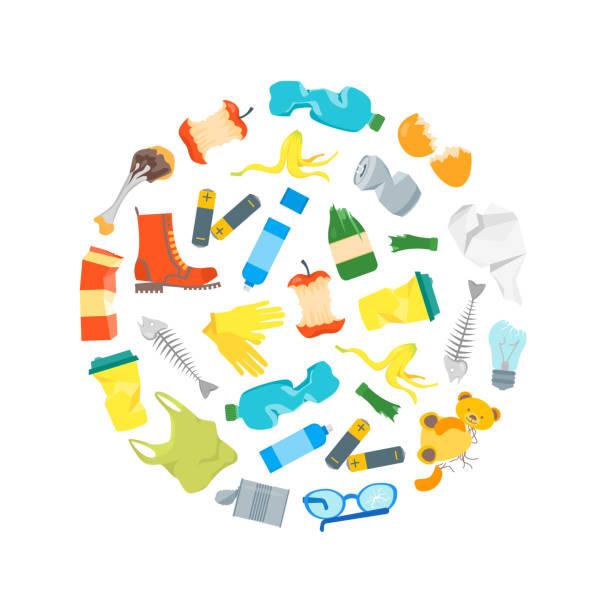 bildbanksillustrationer, clip art samt tecknat material och ikoner med cartoon skräp och sopor runda formgivningsmall. vektor - food waste