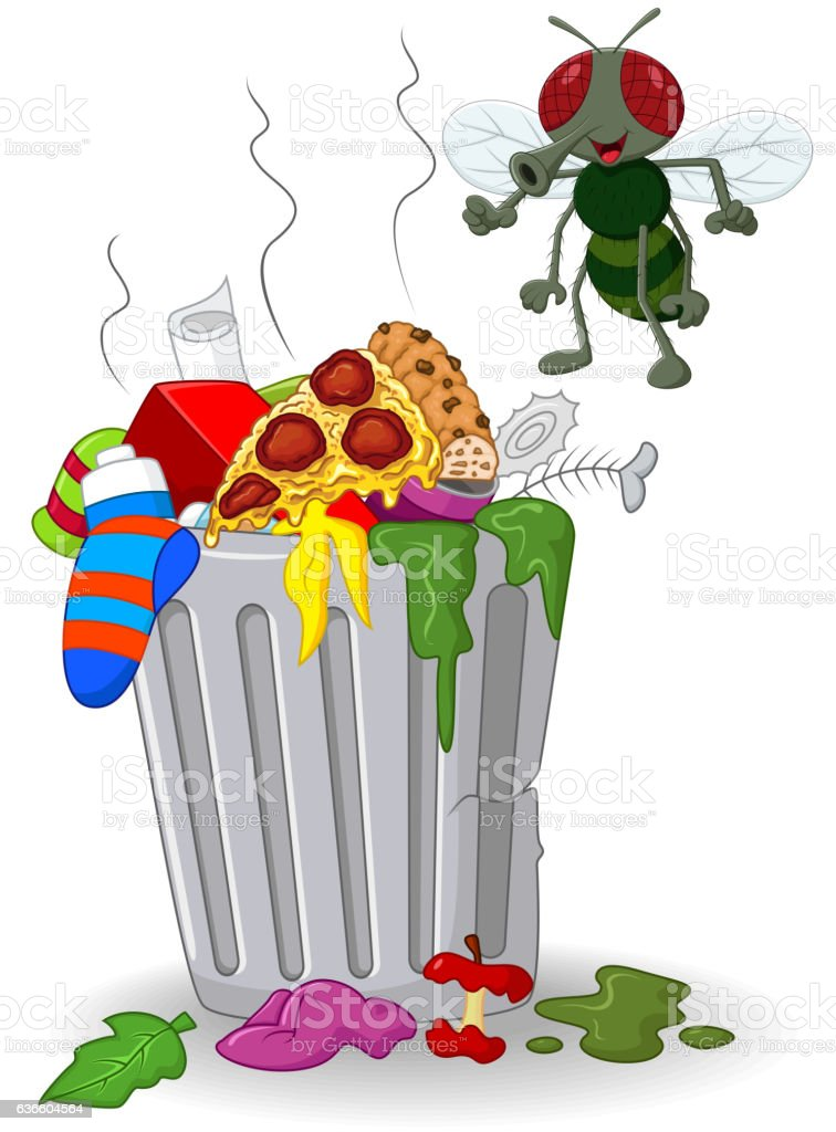 Cartoon Trash Can And Fly Stock Vector Art & More Images ...