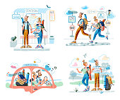 Cartoon travelers in different situation scene set. Man and woman couple stand on bus station, car, hitchhiking catch car, drive rent automobile, follow path on map. Vector flat illustration