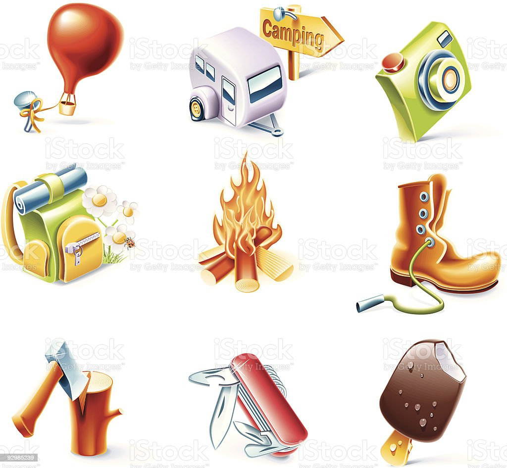 Cartoon traveling icon set royalty-free cartoon traveling icon set stock vector art & more images of axe