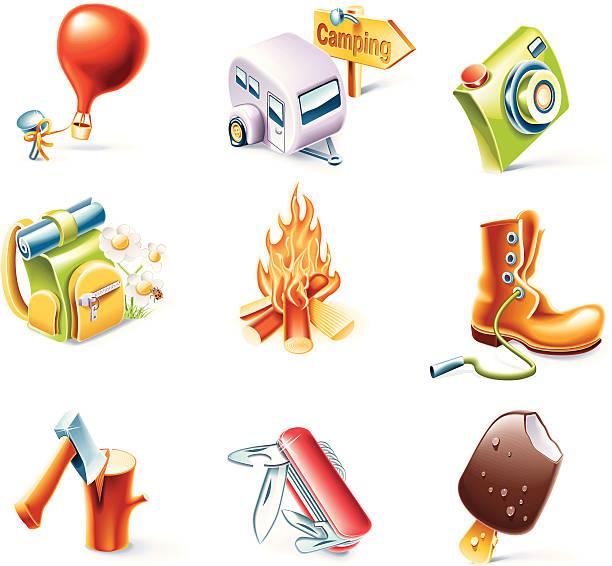 ilustrações de stock, clip art, desenhos animados e ícones de mulher viajando conjunto de ícones - nails ice cream