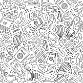 Cartoon cute hand drawn Traveling seamless pattern. Line art detailed, with lots of objects background. Endless funny vector illustration. Sketchy travel planning backdrop.