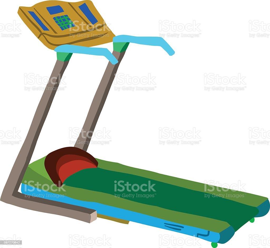 Cartoon treadmill flat icon. Lizenzfreies cartoon treadmill flat icon stock vektor art und mehr bilder von aktivitäten und sport