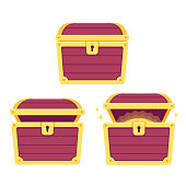 Cartoon treasure chest set, open and closed. Pirate gold isolated vector illustration.