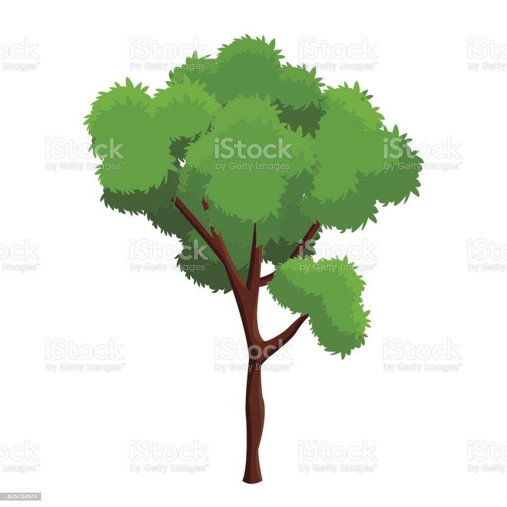 cartoon tree plant natural forest vector art illustration
