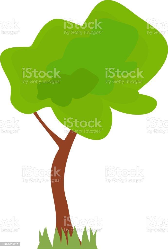 Ilustración De árbol De Dibujos Animados Con Hojas De Color Verde