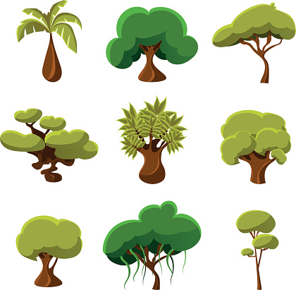 Cartoon Trees Leaves And Bushes Set Vector Illustration Stock Illustration Download Image Now Istock Begin by drawing two parallel lines. https www istockphoto com vector cartoon trees leaves and bushes set vector illustration gm491557606 75806829