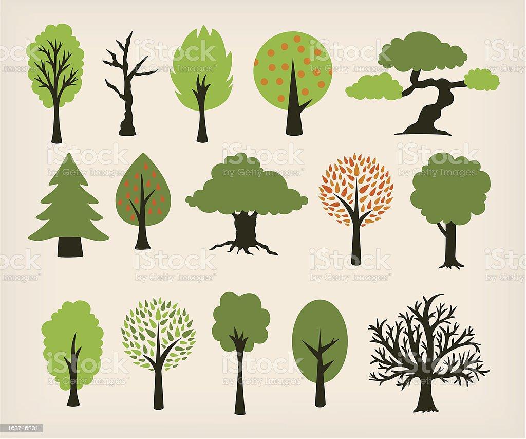 Fumetto di alberi - illustrazione arte vettoriale