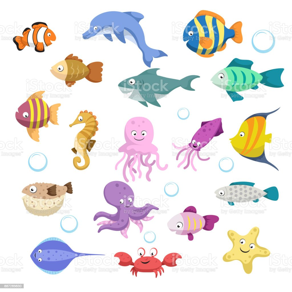 Cartoon trendy colorful reef animals big set. Fishes, mammal, crustaceans.Dolphin and shark, octopus, crab, starfish, jellyfish. Tropic reef coral wildlife. vector art illustration