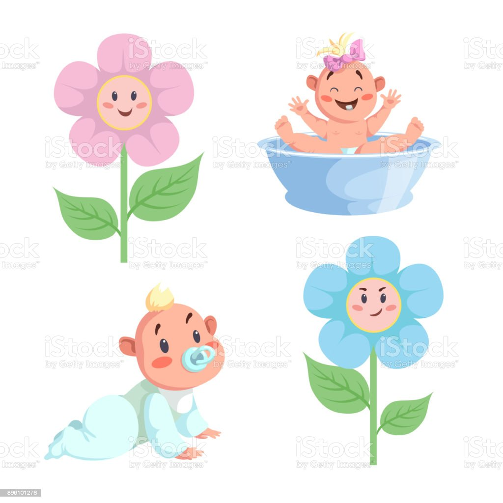 cartoon trendy design babies sticker icons boy and girls faces