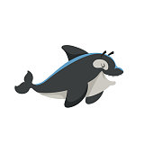 Cartoon trendy design smiling killer whale mascot. Sea and ocean icon vector illustration. Cheerful and closed eyes animal.