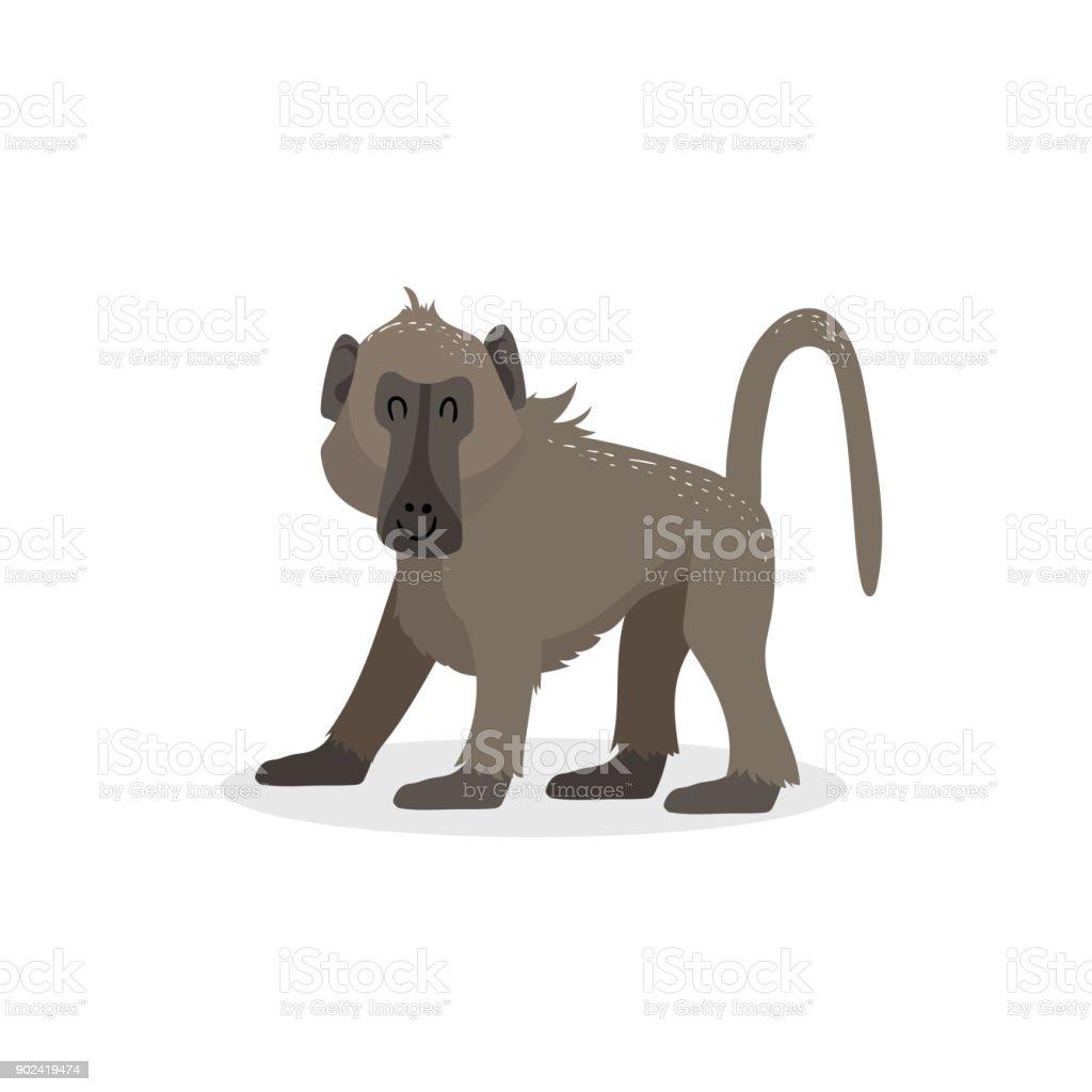 Dessin Animé Décoration Branchée Marche Singe Babouin Animal De La