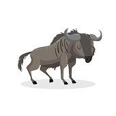 Cartoon trendy design wildebeest standing. African wildlife animal isolated on white background. Vector gnu illustration.