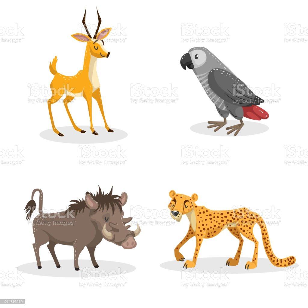 トレンディなスタイルのアフリカの動物セットを漫画します豚イボイノシシ