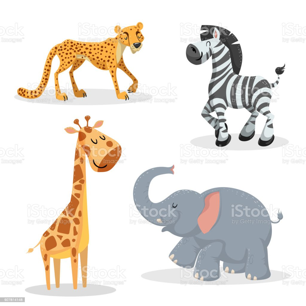トレンディなスタイルのアフリカの動物セットを漫画しますチーター