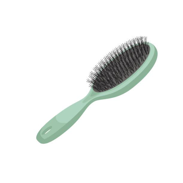 漫画のスタイルのトレンディなスタイル グリーン プラスチック毛のブラシ。ベクトルのメイクアップや髪ケア イラスト。 - ブラシ点のイラスト素材/クリップアート素材/マンガ素材/アイコン素材