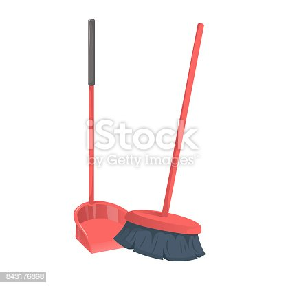 istock Cartoon trendy style red dustpanwith stick and brushed broom. Cleanup and hygiene vector icon illustration. 843176868