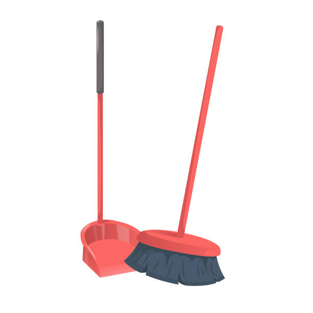 Cartoon trendy style red dustpanwith stick and brushed broom. Cleanup and hygiene vector icon illustration. vector art illustration