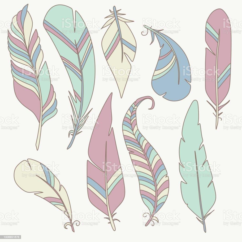 Dessin Animé Tribal Plume Vector Clip Art Oiseau Doodle