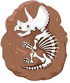 Cartoon triceratops fossil