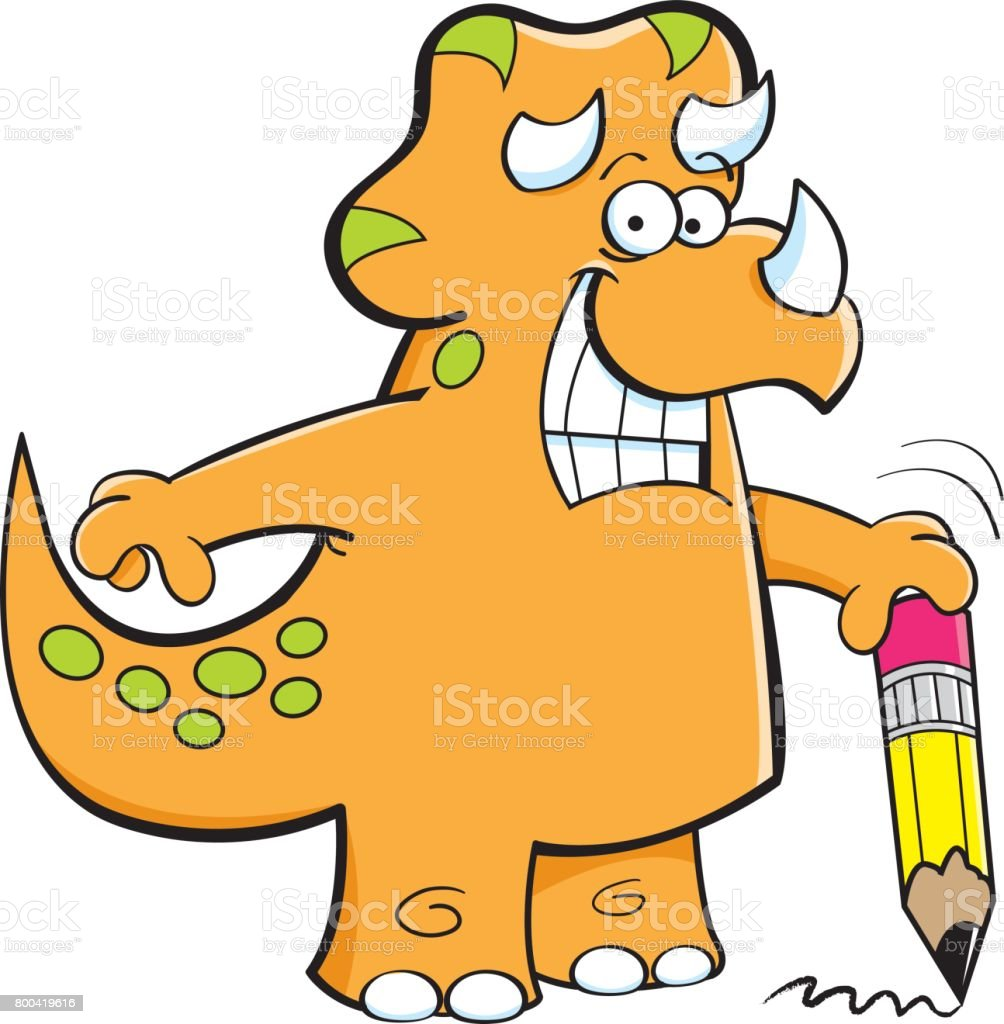 Cartoon triceratops holding a pencil.
