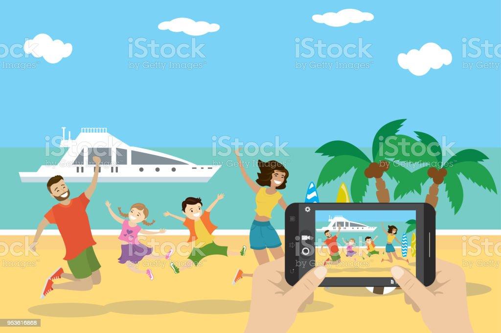 Cartoon tropical beach, vector art illustration