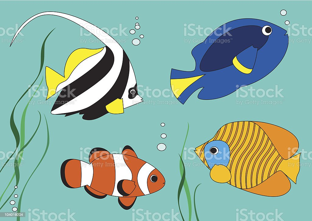 Cartoon tropical fish vector art illustration