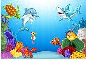 Illustration of Cartoon tropical fish with beautiful underwater world