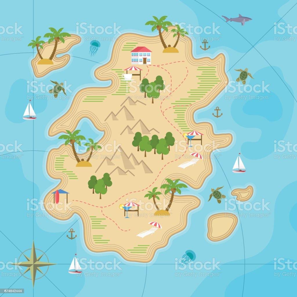 Cartoon Tropische Insel Im Ozean Draufsicht Exotischen Inselkarte Vr on