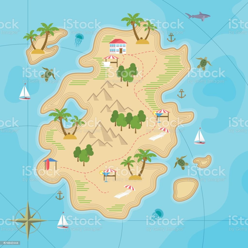 Cartoon tropical island in ocean. Top view exotic island map. Vector game design for app. vector art illustration