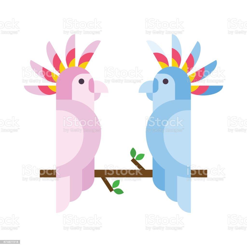 Cartoon tropical parrot wild animal bird vector illustration and...