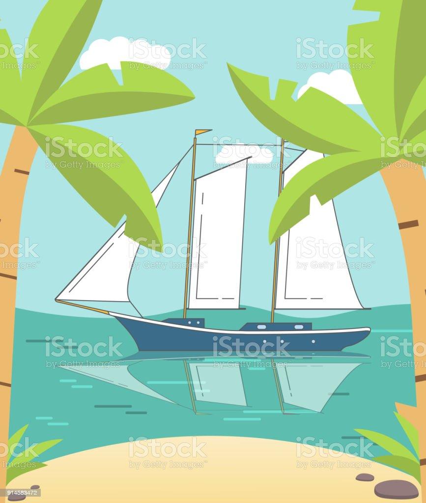 Cartoon tropical summer island landscape sandy beach palm trees cartoon tropical summer island landscape sandy beach palm trees sailing yachta cruiseswimming voltagebd Choice Image