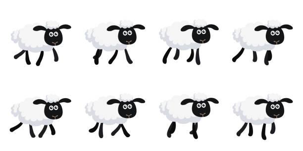 動畫片小跑綿羊動畫精靈板查出在白色背景 - gif 幅插畫檔、美工圖案、卡通及圖標