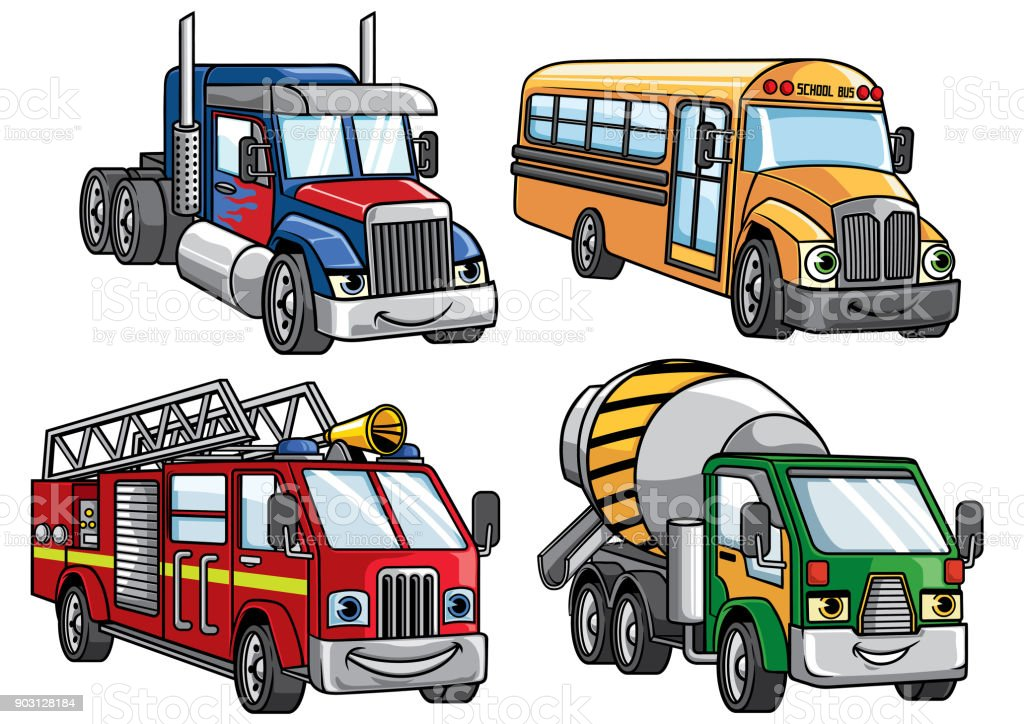 cartoon truck set vector art illustration