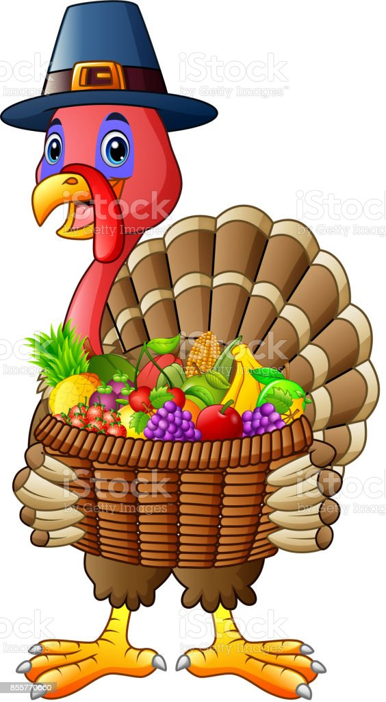 cartoon turkey holding basket full of fruits and vegetables stock