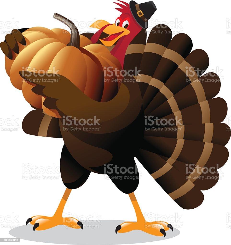 cartoon turkey holding huge pumpkin stock vector art 489698068