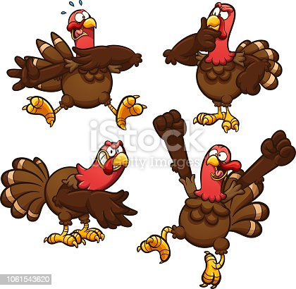 Cartoon Thanksgiving turkey in different poses.  Vector clip art illustration with simple gradients. Each on a separate layer.