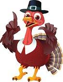 A cartoon turkey with a pilgrim hat