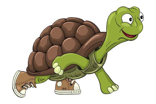 Cartoon turtle in sneakers