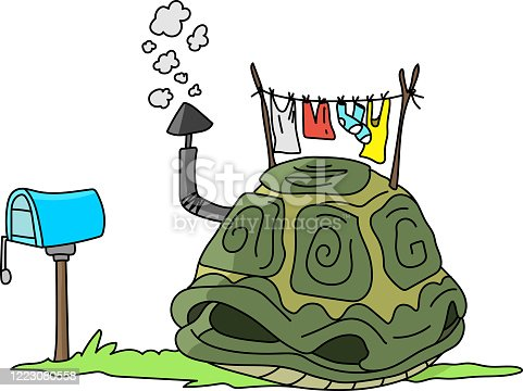 Cartoon turtle shell like a house with a smoking chimney on the top vector illustration