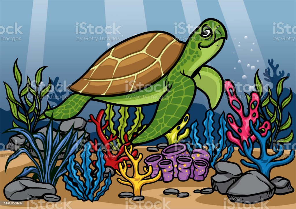 cartoon turtle underwater with beautiful coral vector art illustration